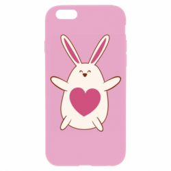 Чехол для iPhone 6/6S Rabbit with a pink heart