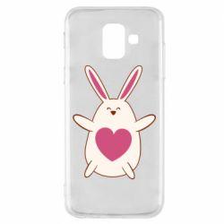Чехол для Samsung A6 2018 Rabbit with a pink heart