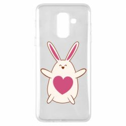 Чехол для Samsung A6+ 2018 Rabbit with a pink heart