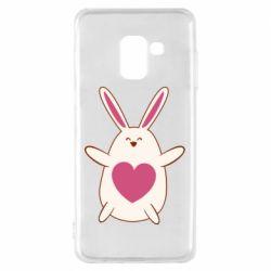 Чехол для Samsung A8 2018 Rabbit with a pink heart