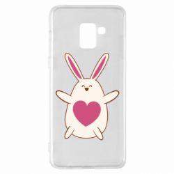 Чехол для Samsung A8+ 2018 Rabbit with a pink heart