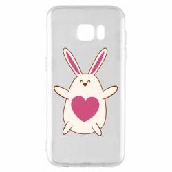 Чехол для Samsung S7 EDGE Rabbit with a pink heart