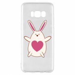 Чехол для Samsung S8 Rabbit with a pink heart