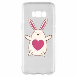 Чехол для Samsung S8+ Rabbit with a pink heart