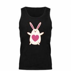 Мужская майка Rabbit with a pink heart