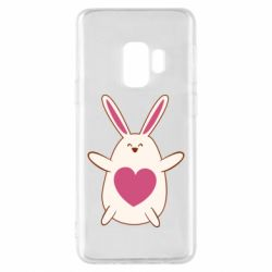 Чехол для Samsung S9 Rabbit with a pink heart