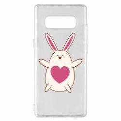 Чехол для Samsung Note 8 Rabbit with a pink heart