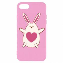 Чехол для iPhone 8 Rabbit with a pink heart