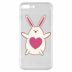 Чехол для iPhone 8 Plus Rabbit with a pink heart