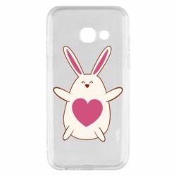 Чехол для Samsung A3 2017 Rabbit with a pink heart