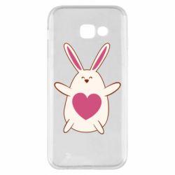 Чехол для Samsung A5 2017 Rabbit with a pink heart