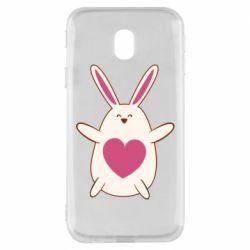 Чехол для Samsung J3 2017 Rabbit with a pink heart
