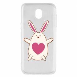 Чехол для Samsung J5 2017 Rabbit with a pink heart
