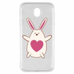 Чехол для Samsung J7 2017 Rabbit with a pink heart