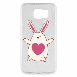 Чехол для Samsung S6 Rabbit with a pink heart