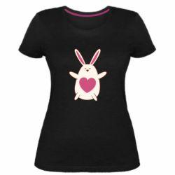 Женская стрейчевая футболка Rabbit with a pink heart