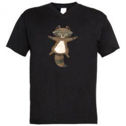 Чоловіча футболка з V-подібним вирізом Raccoon
