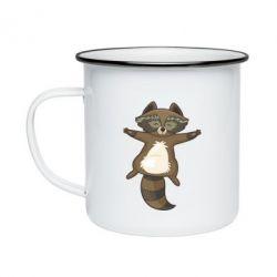 Кружка емальована Raccoon
