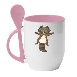 Кружка з керамічною ложкою Raccoon