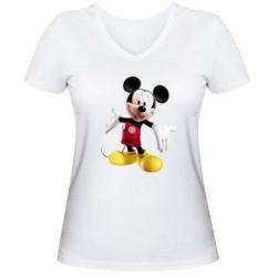 Женская футболка с V-образным вырезом Радостный Микки Маус - FatLine