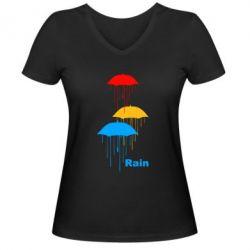 Женская футболка с V-образным вырезом Rain - FatLine