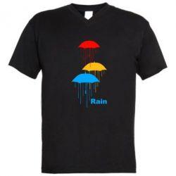 Мужская футболка  с V-образным вырезом Rain - FatLine