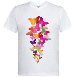 Чоловіча футболка з V-подібним вирізом Rainbow butterflies