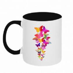 Кружка двоколірна 320ml Rainbow butterflies