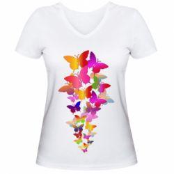 Жіноча футболка з V-подібним вирізом Rainbow butterflies