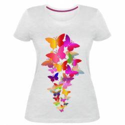 Жіноча стрейчева футболка Rainbow butterflies