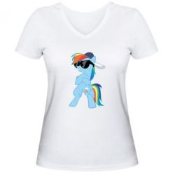 Жіноча футболка з V-подібним вирізом Rainbow Dash Cool - FatLine