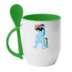 Кружка з керамічною ложкою Rainbow Dash Cool - FatLine