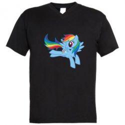 Чоловічі футболки з V-подібним вирізом Rainbow Dash run - FatLine
