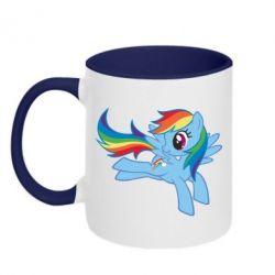 Кружка двоколірна Rainbow Dash run - FatLine