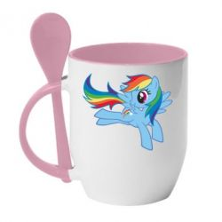 Кружка з керамічною ложкою Rainbow Dash run - FatLine