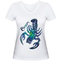 Женская футболка с V-образным вырезом Рак звезды