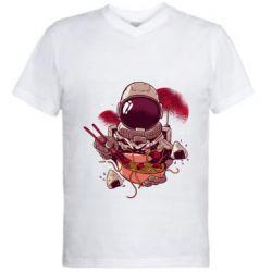 Мужская футболка  с V-образным вырезом Рамэн Космонавт