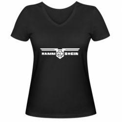 Женская футболка с V-образным вырезом Ramshtain print