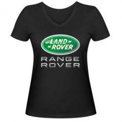 Женская футболка с V-образным вырезом Range Rover Logo Metalic - FatLine