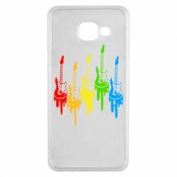 Чехол для Samsung A3 2016 Разноцветные гитары