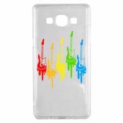 Чехол для Samsung A5 2015 Разноцветные гитары