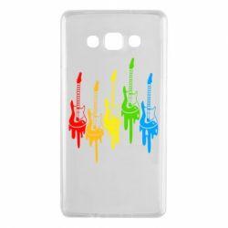 Чехол для Samsung A7 2015 Разноцветные гитары