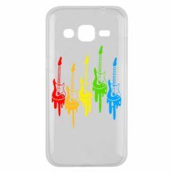 Чехол для Samsung J2 2015 Разноцветные гитары