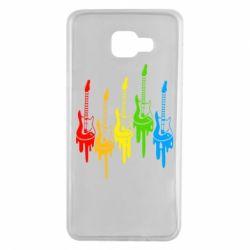 Чехол для Samsung A7 2016 Разноцветные гитары