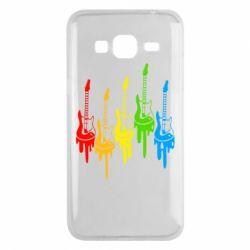 Чехол для Samsung J3 2016 Разноцветные гитары