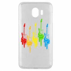 Чехол для Samsung J4 Разноцветные гитары