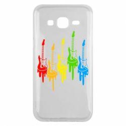 Чехол для Samsung J5 2015 Разноцветные гитары