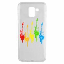 Чехол для Samsung J6 Разноцветные гитары
