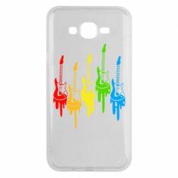 Чехол для Samsung J7 2015 Разноцветные гитары