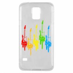 Чехол для Samsung S5 Разноцветные гитары